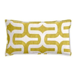 "Cushion Source - Chartreuse Geometric Lumbar Pillow - The 20"" x 12"" Chartreuse Geometric Lumbar Pillow features a mod geometric yellow-green print on a white background."