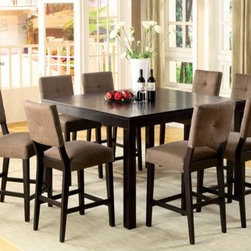 Hokku Designs - Grant 7 Piece Counter Height Dining Set - With a modern look you'll appreciate during mealtime, or just anytime, this counter height dining set casual yet chic modern design that will blend beautifully with your surrounding decor. Features: -Upholstery material: 35% Polyester and 65% cotton.-Crafted with corner blocking for structural integrity.-Table with removable leaf can be easily extend and reduce.-Extra padded chair seat and back offer superior comfort.-Dining table brings together the best of simplicity and modern design with its clean line.-ISTA 3A certified.-Set includes one counter height dining table and six counter height chairs.-Chair upholstered in light brown colored fabric.-Frame construction: Solid wood and veneer.-Espresso finish.-Collection: Grant.-Distressed: No.Dimensions: -Dining table dimensions: 36.25'' H x 36-54'' W x 54'' D.-Chair dimensions: 42'' H x 18'' W x 23.5'' D.