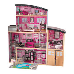 "KidKraft - Kidkraft Home Indoor Kids Pretend Play Imaginative Toy Sparkle Mansion Dollhouse - Get ready to play with the most glamorous dollhouse on the block. Our Sparkle Mansion dollhouse is loaded with colorful artwork and fun details that young girsl are sure to love. From the specially-designed curved roofs to the wooden backyard addition, this dollhouse has features you can't find anywhere else. Age Range: 3 Plus. Dimension: 49.4""Lx 25.7""Wx 53.3""H"