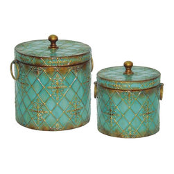 Sterling Industries - Sterling Industries Roth Boxes Set of 2 X-6203-15 - These Sterling Industries Roth boxes are charming in their design, with a classic cylindrical shape and knob style finial. The cross patterning has been done up in gold, over a beautiful and vivid turquoise backdrop that creates a pop of color in any setting.