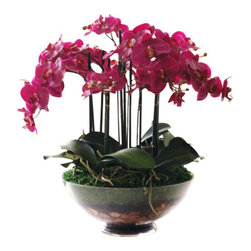 Winward Designs - Phalaenopsis Orchid In Glass Flower Arrangement - The hot pink Phalaenopsis orchid is super sexy until it drops its petals and you're left with bare stems during its dormant months. Why fuss with all of that when you can invest in a stunning permanent version? Its showy blooms will make an effortless statement in your home all year.