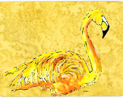 Caroline's Treasures - Flamingo On Yellow Kitchen Or Bath Mat 24X36 - Kitchen or Bath COMFORT FLOOR MAT This mat is 24 inch by 36 inch. Comfort Mat / Carpet / Rug that is Made and Printed in the USA. A foam cushion is attached to the bottom of the mat for comfort when standing. The mat has been permenantly dyed for moderate traffic. Durable and fade resistant. The back of the mat is rubber backed to keep the mat from slipping on a smooth floor. Use pressure and water from garden hose or power washer to clean the mat. Vacuuming only with the hard wood floor setting, as to not pull up the knap of the felt. Avoid soap or cleaner that produces suds when cleaning. It will be difficult to get the suds out of the mat
