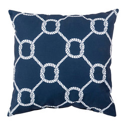 "Twisting Knot Print on Navy Pillow - 20"" x 20"" - A lattice of rope knotwork marries a traditional pattern with a classic motif, creating a textural two-color design that looks elegant and essential in transitional beach houses as well as in a variety of old-world styles and themes.  The Twisting Knot Print on Navy Pillow adds a dark, traditional tone to a color palette for a pleasing, graphic overall look in the room."
