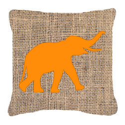 Caroline's Treasures - Elephant Burlap and Orange Fabric Decorative Pillow BB1011 - Indoor or Outdoor Pillow from heavy weight Canvas. Has the feel of Sunbrella Fabric. 18 inch x 18 inch 100% Polyester Fabric Pillow Sham with Pillow form. This Pillow is made from our new canvas type fabric can be used Indoor or outdoor. Fade resistant, stain resistant and Machine washable.