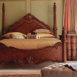 """Edwardian"" Bedroom Furniture - Grand and large in scale, the Edwardian bed is warm and inviting.  Scrolled carving and brass hardware beautifully accent this classically designed bed.• Queen bed, 85""L x 69""W.• King bed, 94""L x 85""W.• Pricing is for King size."