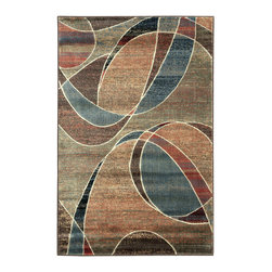 "Nourison - Nourison Expressions XP07 3'6"" x 5'6"" Multicolor Area Rug 57892 - Circles, swirls and curves in hues of green, blue, red, plum and ecru, defy gravity in a dynamic exchange of color and texture. Incomparable hand carving imparts incredible depth and dimension."