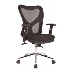 Techni Mobili - Techni Mobili High-Back Mesh Task Chair in Black - High-Back Mesh Task Chair in Black by Techni Mobli The Techni Mobili High-Back Mesh Task Chair has a sleek, contemporary design and features breathable mesh back support, a contoured fabric seat cushion, and height-adjustable padded armrests with a 3 inch range. The pneumatic height adjustment lever provides a 3 inch seat height adjustment range and the reclining back has a locking lever and a tension control knob. Dual wheel non-marking casters and heavy-duty chromed steel 5-star base provide durable, stable mobility. COLOR: Black.  Office Chair (1)