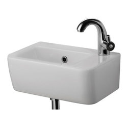 ALFI - Alfi AB101 Small White Wall Mounted Ceramic Bathroom Sink Basin - AB101 - Shop for Bathroom from Hayneedle.com! Compact modern designRectangular shapeHole diameter: 1.75Weight: 17 lbs.Single-faucet hole cut in right side1-year warrantyAbout Alfi Trade Inc.A place where beauty quality and service meet at last. Alfi Trade Inc. is a Los Angeles California company that recently merged with Whitehaus Collection in West Haven Connecticut to be their exclusive West Coast distribution center. Whitehaus Collection products transform the most essential rooms in the home: the kitchen and bath into reflections of the homeowners personal style. For over 10 years Whitehaus Collection has been providing people with high-end decorative plumbing fixtures that are beautiful and stand the test of time.