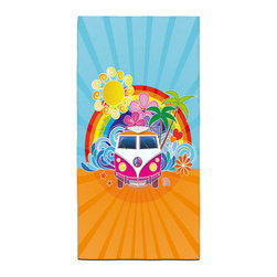 "Eco Friendly ""Peace Surf Bus""  Bath Towel - Our Bath/Beach Towels are made of a super soft poly fiber fabric with 2mm pile."