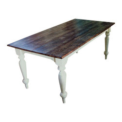 EcoFirstArt - Antique Oak Top Dining Table - There's nothing quite like a farm table to bring a warm and comforting aesthetic to your dining room. The tabletop is made of reclaimed barn wood, while the base and legs are crafted from sustainably harvested wood. A distressed painted finish and natural imperfections make for a rustic place for family meals.