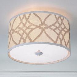 Trellis Linen Drum Shade Ceiling Light - 2 Colors -