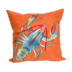 """Trans-Ocean Inc - Lobster Orange 20"""" Square Indoor Outdoor Pillow - The highly detailed painterly effect is achieved by Liora Mannes patented Lamontage process which combines hand crafted art with cutting edge technology. These pillows are made with 100% polyester microfiber for an extra soft hand, and a 100% Polyester Insert. Liora Manne's pillows are suitable for Indoors or Outdoors, are antimicrobial, have a removable cover with a zipper closure for easy-care, and are handwashable.; Material: 100% Polyester; Primary Color: Orange;  Secondary Colors: blue, green, red, white; Pattern: Lobster; Dimensions: 20 inches length x 20 inches width; Construction: Hand Made; Care Instructions: Hand wash with mild detergent. Air dry flat. Do not use a hard bristle brush."""
