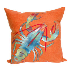 "Trans-Ocean Inc - Lobster Orange 20"" Square Indoor Outdoor Pillow - The highly detailed painterly effect is achieved by Liora Mannes patented Lamontage process which combines hand crafted art with cutting edge technology. These pillows are made with 100% polyester microfiber for an extra soft hand, and a 100% Polyester Insert. Liora Manne's pillows are suitable for Indoors or Outdoors, are antimicrobial, have a removable cover with a zipper closure for easy-care, and are handwashable.; Material: 100% Polyester; Primary Color: Orange;  Secondary Colors: blue, green, red, white; Pattern: Lobster; Dimensions: 20 inches length x 20 inches width; Construction: Hand Made; Care Instructions: Hand wash with mild detergent. Air dry flat. Do not use a hard bristle brush."