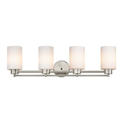 Design Classics Lighting - Modern Bathroom Light with White Glass in Satin Nickel Finish - 704-09 GL1028C - Contemporary / modern satin nickel 4-light bathroom light. A socket ring may be required if installed facing down. Takes (4) 100-watt incandescent A19 bulb(s). Bulb(s) sold separately. UL listed. Damp location rated.