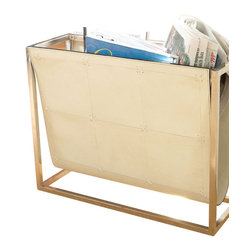 Global Views - Magazine Caddy, Beige Leather - Transitional leather magazine caddy, perfect for any room.