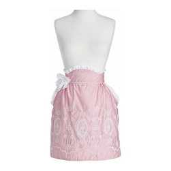Jessie Steele - Jessie Steele Embroidered Apron Pin Dot Border June - Jessie Steele's kitchen accessories: This Elegant half apron pink white polka dots with a white flower makes the perfect accessory for a fashionable hostess.  Machine washable cold on gentle cycle, separately and line dry