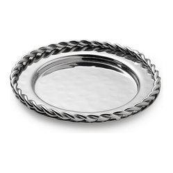Mary Jurek Design, Inc. - Paloma Bottle Coaster with Braided Wire - Protect your fine furniture and linens from wine splashes and bottle rings. With its bold braided trim, this stainless steel coaster brings a stately touch to your table.