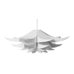 Inova Team -Large Daffodil Shade - This exquisite foil pendant shade resembles a giant daffodil suspended from your ceiling. This piece is budding with optical intrigue, and appears completely different from below than from the side.