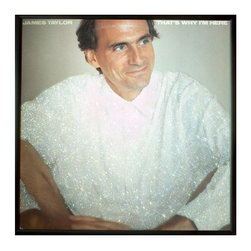"""Glittered James Taylor That's Why I'm Here Album - Glittered record album. Album is framed in a black 12x12"""" square frame with front and back cover and clips holding the record in place on the back. Album covers are original vintage covers."""
