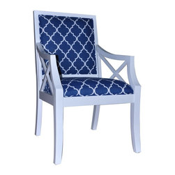 Atlantic Blue and White Accent Chair - Atlantic Blue and White Accent Chair