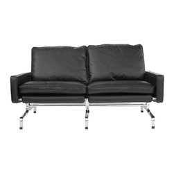 IFN Modern - PK31 Style Loveseat - â— Product is available in either 100% Full Grain Italian Leather and 100% Full Grain Aniline Leatherâ— Base is polished stainless steelâ— Frame does not chip or rustâ— Available in multiple colorsâ— Chair comes with foot protector