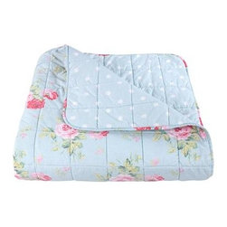 Antique Rose Bouquet Duck Egg Bedspread - Spring can sometimes be chilly. This floral blanket is perfect for keeping you cozy on cool nights.