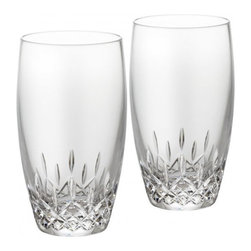 Waterford - Waterford Lismore Essence HiBall, Set of Two - Waterford Lismore Essence is the next generation of the classic Lismore pattern, retaining the brilliance and clarity of Lismore, while incorporating a more slender, modern profile. The lighter wall of these cool, contemporary Lismore Essence HiBall Tumblers give ice-cubes a musical note when they hit the glass. Ideal for serving long, cool cocktails and mixed drinks, the dramatic diamond and wedge cuts of the traditional Lismore pattern refract light with stunning radiance; while the slim profile of these thoroughly modern glasses adds a touch of occasion even to the everyday.