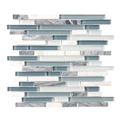10 Square Feet - Bliss Waterfall Random Strip Glass and Stone Mosaic Tiles