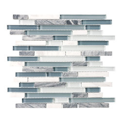 Rocky Point Tile - 10 Square Feet - Bliss Waterfall Random Strip Glass and Stone Mosaic Tiles - Don't go chasin' waterfalls. But with this one, you can. Create the effect of a waterfall cascading over slick rock, ending in bubbly whitewater with mosaic tiles made of glass and stone. Watery blues and grays, accented by pops of white, offer a refreshing backsplash in your kitchen or bath.