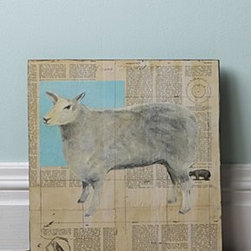 """Anthropologie - Sheep By Tom Judd - One of a kindUnframedMixed media and oil paint on canvas12"""" squareHandmade in USA"""
