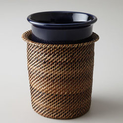 "Lauren Ralph Lauren - Lauren Ralph Lauren ""Somerset Island"" Wine Chiller - With its intriguing mix of smooth porcelain and exotic woven material, this wine chiller evokes thoughts of warm tropical nights. Made of porcelain and material woven from nito vines. Chiller is dishwasher and microwave safe. Hand wash nito woven mat..."