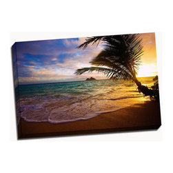 Picture it on canvas - Beach Series, Lanikai Beach - Vibrant photography captures the warmth and beauty of beaches across the globe while a stretched canvas gives the art a gallery presentation.