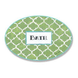 Stupell Industries - Green and White Lattice Bath Oval Wall Plaque - Made in USA. Ready for Hanging. Hand Finished and Original Artwork. No Assembly Required. 15 in L x .5 in W x 10 in H (2 lbs.)Made in USA! Point your guests in the right direction with elegant bathroom plaques from The Stupell Home decor CollectionEach plaque comes with a sawtooth hanger for easy installation on bathroom doors or walls.