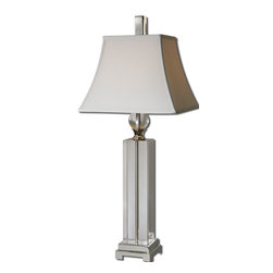 Uttermost - Uttermost Sapinero Table Lamp w/ Square Bell Shade in White Linen - Table Lamp w/ Square Bell Shade in White Linen belongs to Sapinero Collection by Uttermost Thick crystal base and ball accent with polished nickel plated metal details. The square bell shade is a white linen fabric. Table Lamp (1)