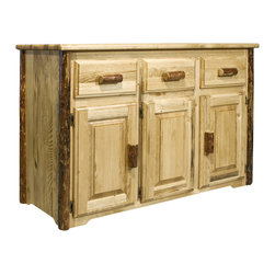 """Montana Woodworks - Montana Woodworks Sideboard in Glacier Country - This quality sideboard is handcrafted from solid, American grown wood and designed to withstand decades of daily use. Truly an heirloom quality item. Use the sideboard in your kitchen or dining room to serve food or display your fine serving dishes. Finished in the """"Glacier Country"""" collection style for a truly unique, one-of-a-kind look reminiscent of the Grand Lodges of the Rockies, circa 1900. First we remove the outer bark while leaving the inner, cambium layer intact for texture and contrast. Then the finish is completed in an eight step, professional spraying process that applies stain and lacquer for a beautiful, long lasting finish. Comes fully assembled. 20-year limited warranty included at no additional charge."""