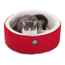 """MAJESTIC PET PRODUCTS - Cat Cuddler Pet Bed, Red, 16"""" - Our Small Cat Cuddler Pet Bed from Majestic Pet Products is the perfect place for your feline friend to curl up for a nap in perfect comfort. The machine washable cover has a sturdy Poly/Cotton Twill shell with a lush sherpa inner lining, and covers a cushion of super soft orthopedic grade foam."""