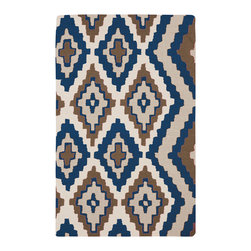 Surya - Surya Alameda Mexa Cobalt Hand Woven Rug - The hand-woven Surya Alameda Mexa rug introduces southwestern spirit with vibrant charisma. Edgy and bold, a series of eclectic diamonds create tribal texture. 100% wool; Cobalt, ivory, gray and olive; Flat pile; Reversible; Rug pad recommended; Available in several sizes; Design by Beth Lacefield