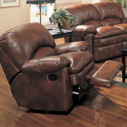 Coaster - Walter Rocker Recliner, Brown - This dual reclining sofa and love seat have the look of leather but is covered in easy care bonded leather. The ultra comfortable seating, with the overstuffed padded arms and seat cushions creates a casual and comfortable look. Matching rocker recliner also available.