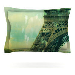 "Kess InHouse - Ann Barnes ""Paris Dreams"" Green Tower Pillow Sham (Cotton, 30"" x 20"") - Pairing your already chic duvet cover with playful pillow shams is the perfect way to tie your bedroom together. There are endless possibilities to feed your artistic palette with these imaginative pillow shams. It will looks so elegant you won't want ruin the masterpiece you have created when you go to bed. Not only are these pillow shams nice to look at they are also made from a high quality cotton blend. They are so soft that they will elevate your sleep up to level that is beyond Cloud 9. We always print our goods with the highest quality printing process in order to maintain the integrity of the art that you are adeptly displaying. This means that you won't have to worry about your art fading or your sham loosing it's freshness."
