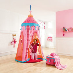 Haba - Haba Marakesh Play Hanging Tent Multicolor - 8116 - Shop for Learning and Education from Hayneedle.com! Bring the world to your playroom with the Haba Marrakesh Play Hanging Tent. Ornate details bring the sights sounds and smells of an Indian open air market to mind. Play possibilities are endless. One day there may be a chase after a runaway camel who's loaded with jewels and spices. The next playtime might involve harvesting fruit and bringing it to market. Even when it's monsoon season outside children will enjoy stimulating imaginative play indoors with this ceiling-mounting tent (hanging hardware not included.) Sheer mesh panels allow light in and create a softly colored atmosphere to set the scene for relaxation and reading on the included padded floor mat. This tent folds compactly for storage when it's not in use. All materials are phthalate- PVC- BPA- and fire retardant-free.About HABAIn 1938 HABA began manufacturing finely polished wooden toys in Germany. Today these blocks and toys are still an important part of the HABA product line but the company has expanded to produce a wider variety of inventive playthings for inquisitive minds. From games and jewelry to tableware and rugs HABA products are known for innovative design and attention to detail. HABA toys support children's development and foster the spirit of discovery. HABA products undergo rigorous testing under European guidelines. They've won numerous Children's Game of the Year awards and look to continue their legacy of innovative exciting design for kids around the globe.