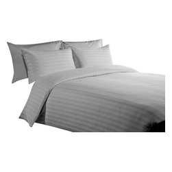 "500 TC 15"" Deep Pocket Sheet Set with Duvet Set Striped Silver Grey, Short Queen - You are buying 1 Flat Sheet (90 x 102 inches), 1 Fitted Sheet (60 x 70 inches), 1 Duvet Cover (88 x 88 Inches) and 4 Standard Size Pillowcases (20 x 30 inches) only."