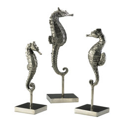 Kathy Kuo Home - Biscayne Coastal Beach Antique Silver Seahorse Trio Sculpture - Of all the sea creatures, the seahorse is certainly the most fascinating and this trio of nickel plated sculptures celebrates their allure in style.  Perfect for a nautically inspired space, or any room where a flight of fancy is welcomed.