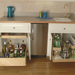 Pull Out Shelves for Your Wet Bar - Have a wet bar in your basement or recreation room?  Slide out shelves from ShelfGenie are ideal for creating organized storage in any existing cabinet or closet.