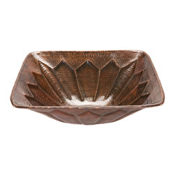Premier Copper Products - Premier Copper Products VS16FDB Square Feathered Vessel Hammered Copper Sink - Uncompromising quality, beauty, and functionality make up this Premier Square Vessel Style Bathroom Sink With Rigid Copper Wrapped Wire Rim.