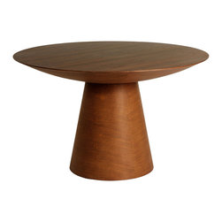 #N/A - Angelholm table - Angelholm table. Angelholm table is crafted as drum round dinning table with solid wood base veneered real American Walnut top and carved wood base. It is a favorite for domestic dining rooms as well as workplaces and even design studios.