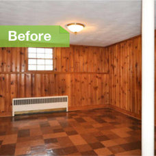Traditional  Knotty to Nice: Painted Wood Paneling Lightens a Room's Look