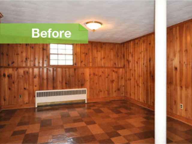Traditional Knotty To Nice Painted Wood Paneling Lightens