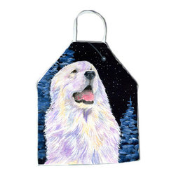 Caroline's Treasures - Starry Night Great Pyrenees Apron SS8466APRON - Apron, Bib Style, 27 in H x 31 in W; 100 percent  Ultra Spun Poly, White, braided nylon tie straps, sewn cloth neckband. These bib style aprons are not just for cooking - they are also great for cleaning, gardening, art projects, and other activities, too!