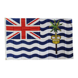 Flagline - British Indian Ocean Territory - 3'X5' Polyester Flag - Made of a high quality polyester material, our Dura-Poly  British Indian Ocean Territory flag measures 3' x 5' and includes vivid colors and an accurate design. Screen-printed on a durable 150 denier shiny polyester material and finished with a double stitched hem, this flag features a white fabric header with two brass grommets on the 3' side for easy display. The flag is best used indoors but can withstand occasional outdoor use. The authentic design is based on information from official sources. The British Indian Ocean Territory (BIOT) is an Overseas Territory of Great Britain (United Kingdom).