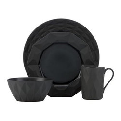 Castle Peak Slate 4-Piece Place Setting - This new china from Kate Spade has my heart racing. I mean, black faceted plates and bowls? Are you kidding me? They are so good.